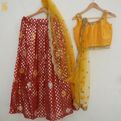 Orange & Yellow Chanderi Banarasi Stitched Lehenga Set - Khinkhwab