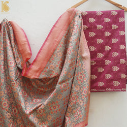 Pure Silk by Spun Silk Handloom Banarasi Fabric - Khinkhwab