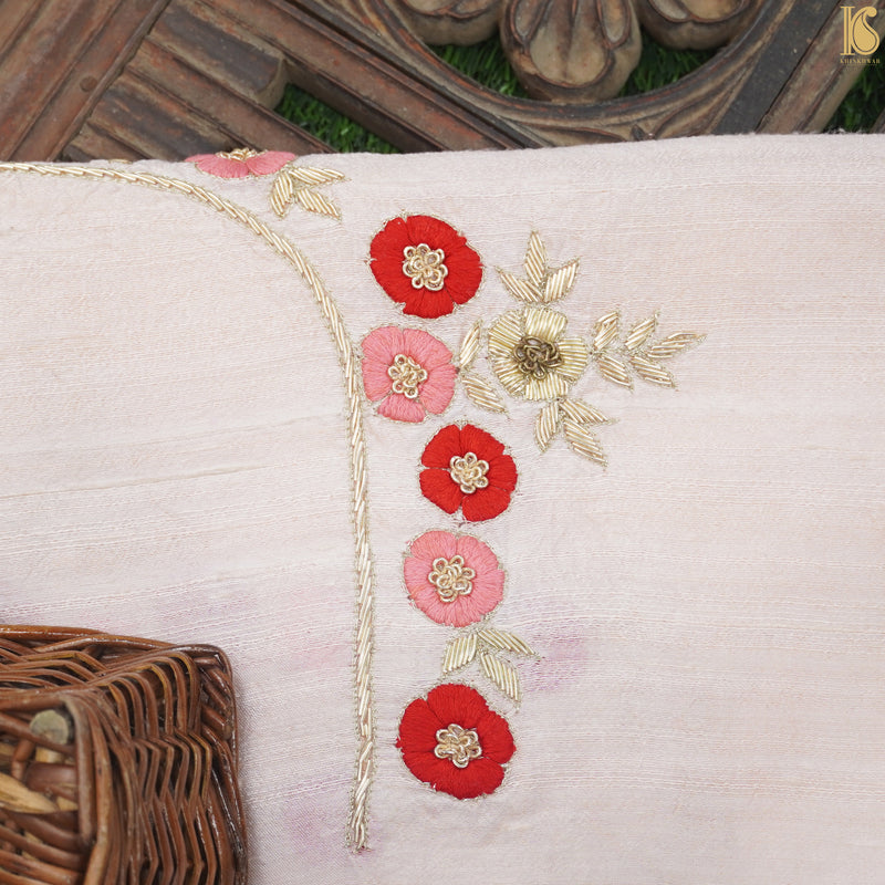 Hand Embroidered Pure Raw Silk White Blouse Fabric - Khinkhwab