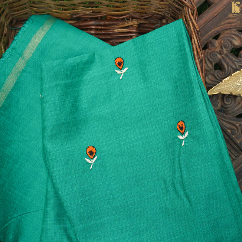 Embroidered Pure Cotton Blouse Green Fabric - Khinkhwab