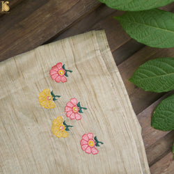 Embroidered Pure Cotton Blouse Off White Fabric - Khinkhwab