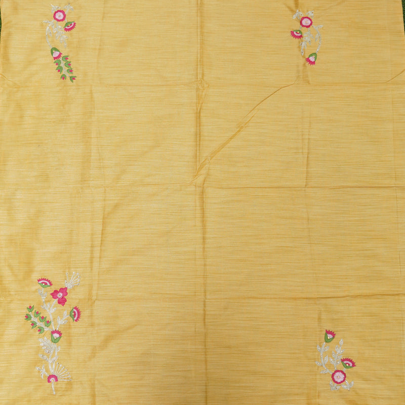 Hand Embroidered Pure Raw Silk Yellow Blouse Fabric - Khinkhwab