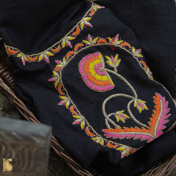 Hand Embroidered Pure Raw Silk Black Blouse Fabric - Khinkhwab