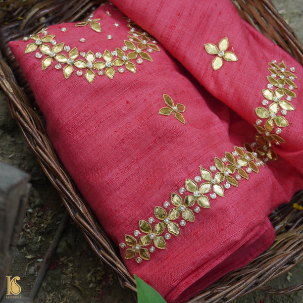 Hand Embroidered Pure Raw Silk Peach Blouse Fabric - Khinkhwab