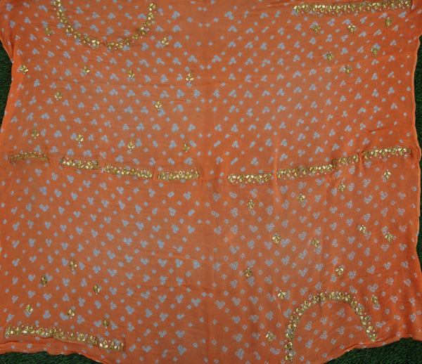 Hand Embroidered Pure Georgette Bandhani Blouse Fabric - Khinkhwab