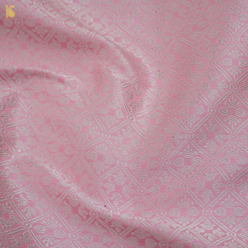 Handloom Pure Muslin Cotton Pink Banarasi Suit Fabric Set - Khinkhwab
