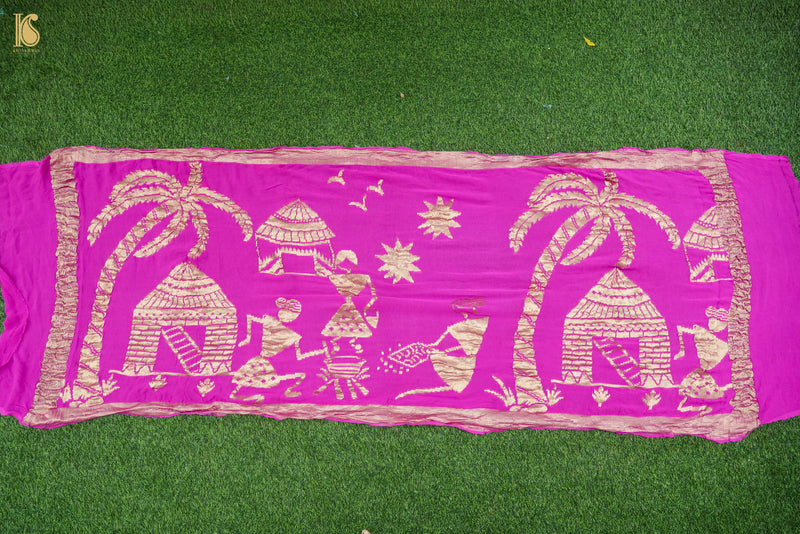 Handloom Katan Silk Red Banarasi Saree - Khinkhwab