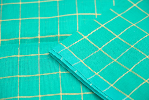 Green Pure Cotton Silk Banarasi Check Fabric - Khinkhwab
