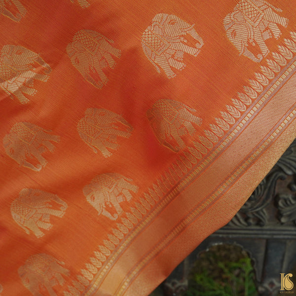 Orange Banarasi Semi Silk Elephant Fabric with Border - Khinkhwab