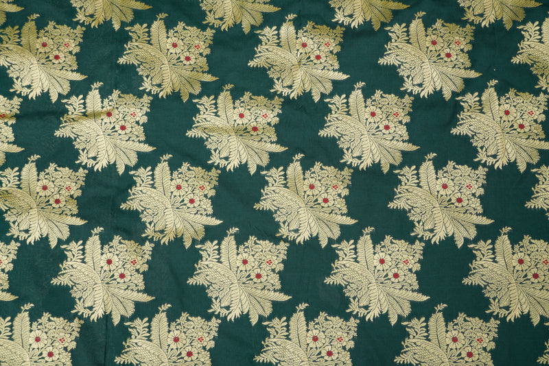 Bottle Green Brocade Banarasi Fabric - Khinkhwab