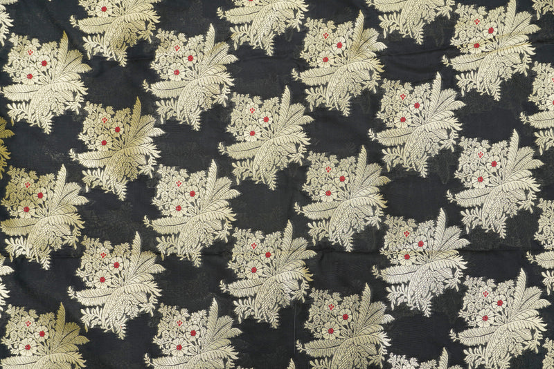 Black Banarasi Brocade Fabric - Khinkhwab
