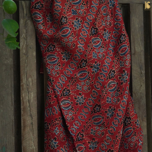 Red Hand Block Ajrakh Modal Silk Fabric - Khinkhwab