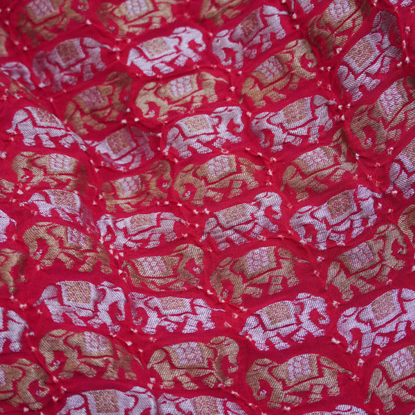 Red Pure Georgette Handloom Banarasi Bandhani Suit Fabric - Khinkhwab