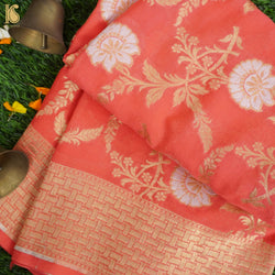 Orange Pure Georgette Handloom Banarasi Dupatta - Khinkhwab