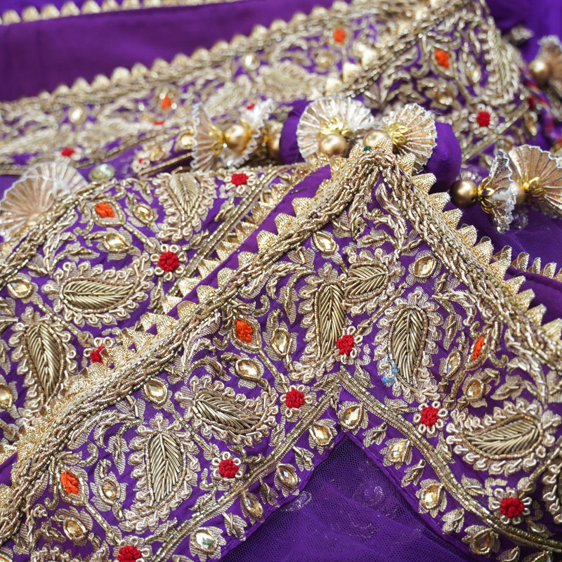 Purple Katan Silk Handloom Banarasi Embroidered Lehenga Set - Khinkhwab
