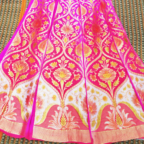 Pink Pure Georgette Handloom Banarasi Lehenga with Hand Brush