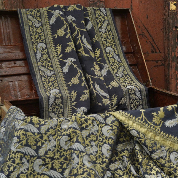 Handloom Pure Georgette Black Birds of Paradise Banarasi Saree - Khinkhwab