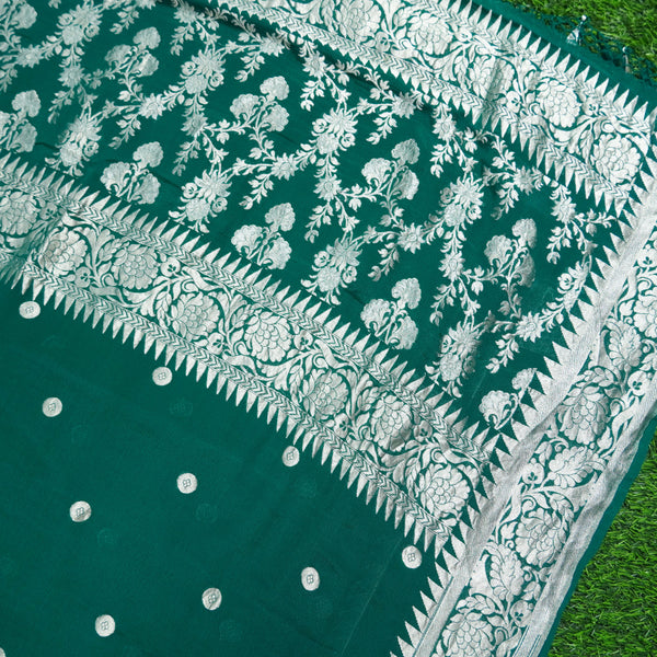 Bottle Green Pure Georgette Handloom Banarasi Asharfi Boota Saree - Khinkhwab