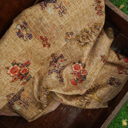 Beige Pure Chanderi Silk with Zari Checks Print Fabric - Khinkhwab