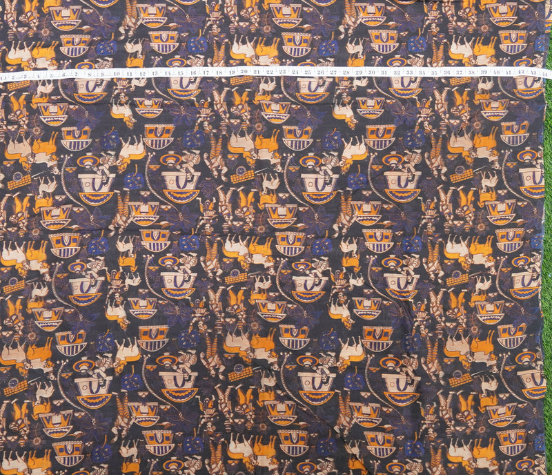 Brown Pure Chanderi Silk Print Fabric - Khinkhwab