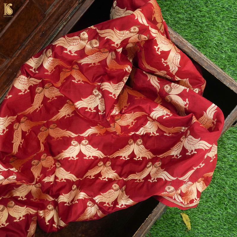 Handwoven Red Pure Katan Silk Banarasi Bird Fabric - Khinkhwab
