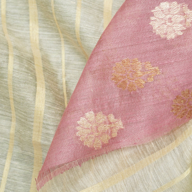 Moonga Silk Handloom Banarasi Fabric with Border - Khinkhwab