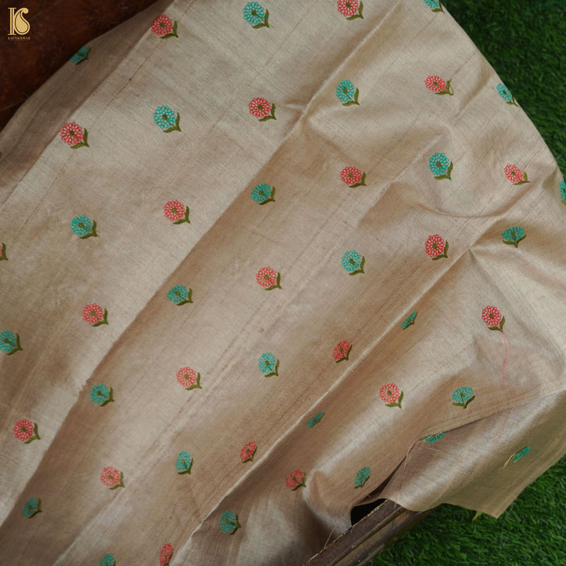Pure Tussar Silk Banarasi Fabric with Embroidery - Khinkhwab