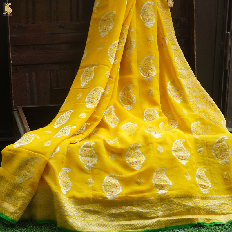 Yellow Georgette Handloom Banarasi Saree - Khinkhwab