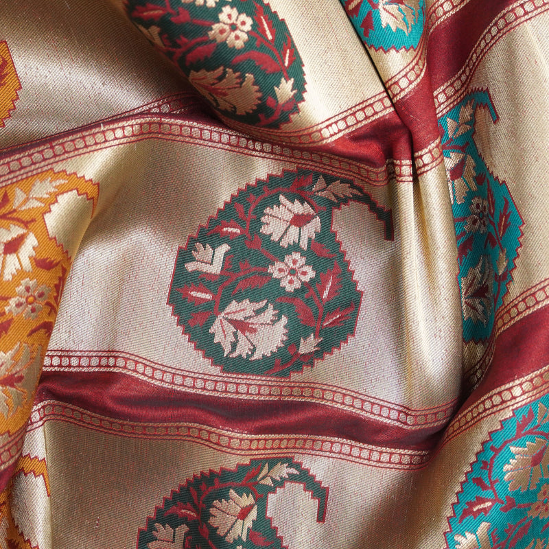 Banarasi Semi Silk Border Fabric - Khinkhwab