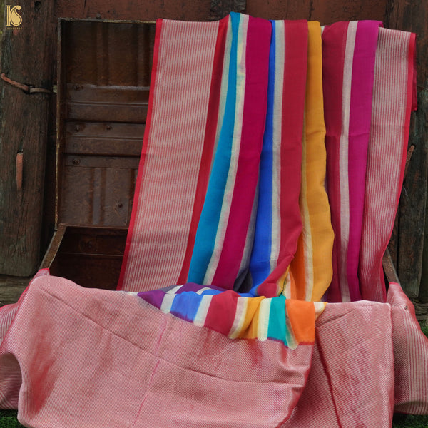 Pure Georgette Handloom Stripes Banarasi Rangkat Saree - Khinkhwab