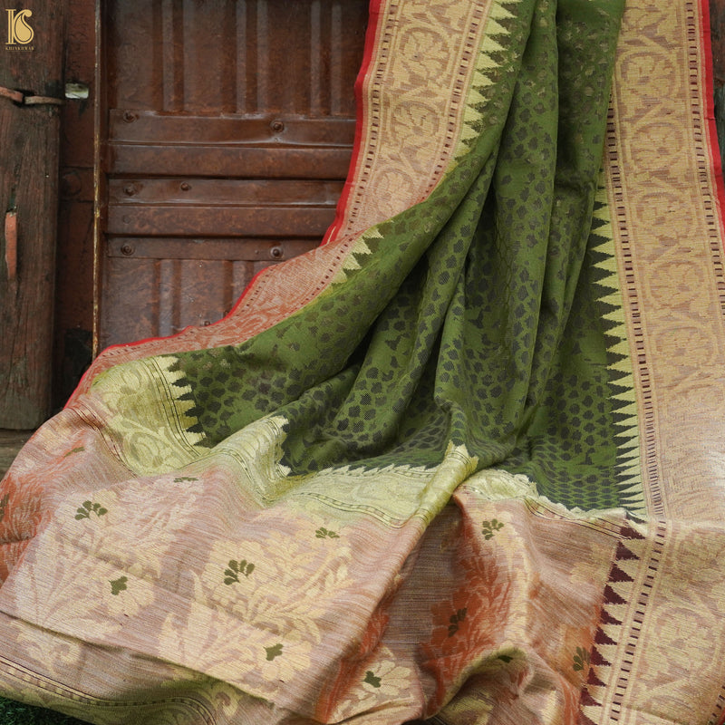 Green Handloom Banarasi Pure Net Saree - Khinkhwab