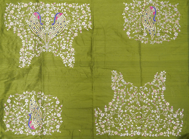 Hand Embroidered Pure Raw Silk Green Blouse Fabric - Khinkhwab