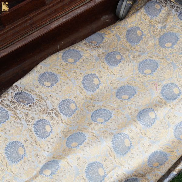 Blue Banarasi Semi Silk Fabric - Khinkhwab