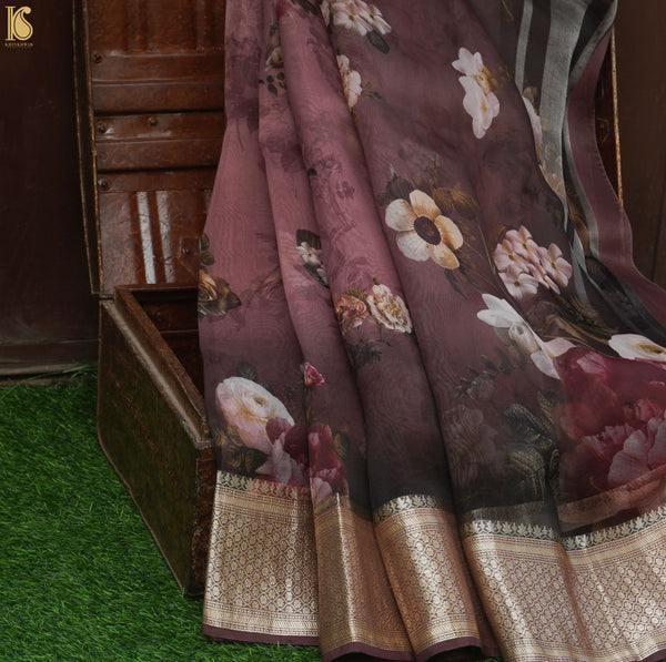 Wine Color Organza Silk Print Banarasi Border Saree - Khinkhwab