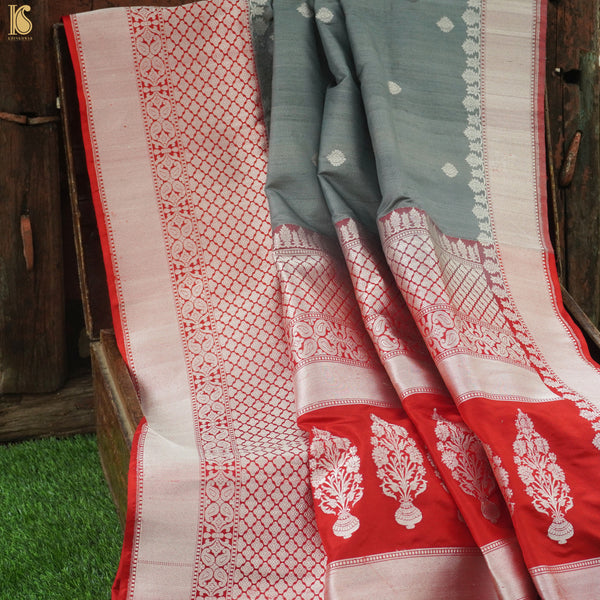 Grey & Red Pure Tussar Silk Handloom Banarasi Kadhiyal Border Saree - Khinkhwab