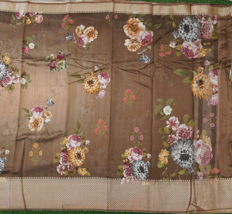 Brown Pure Chiniya Silk Printed Banarasi Saree - Khinkhwab