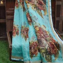 Floral Organza Print Saree with Hand Embroidery - Khinkhwab