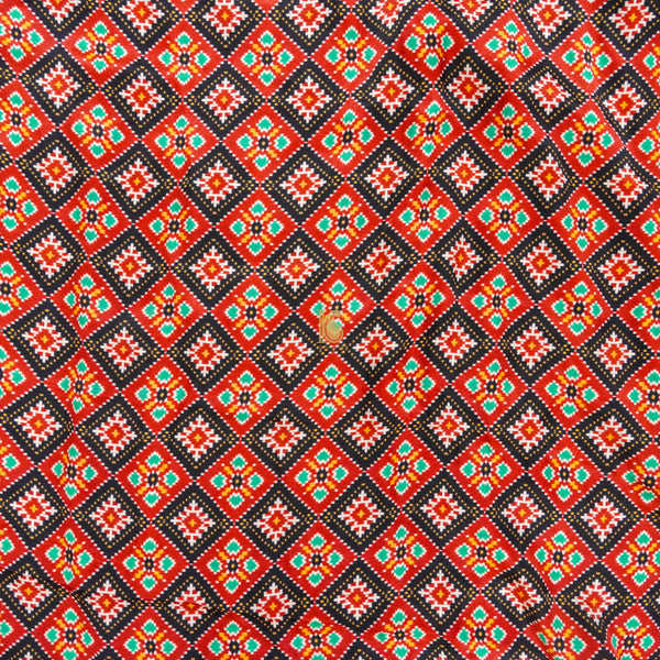 Red Pure Gajji Silk Print Fabric