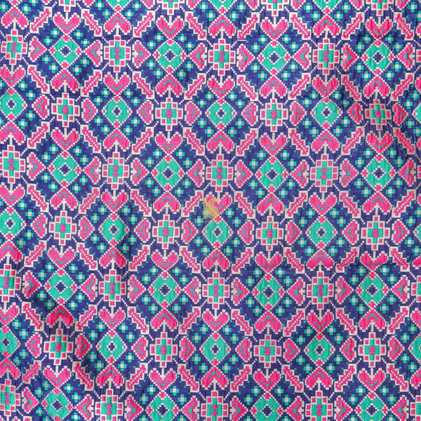 Blue Banarasi Semi Silk Fabric