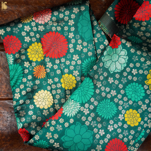 Green Banarasi Semi Silk Fabric
