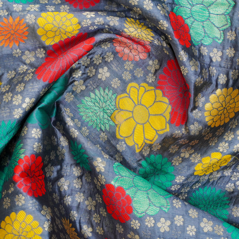 Grey Banarasi Semi Silk Fabric - Khinkhwab