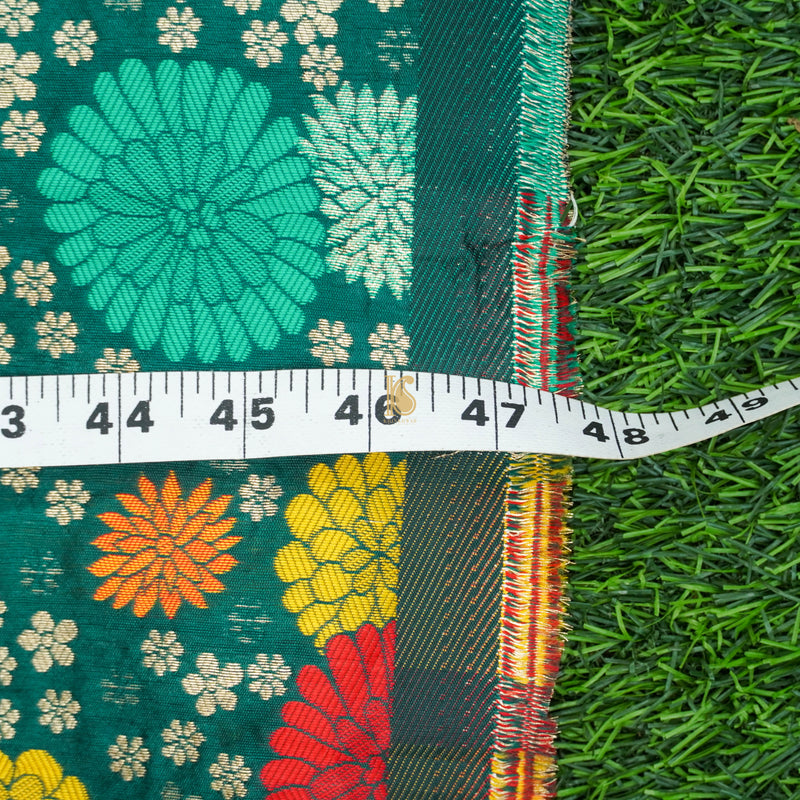 Green Banarasi Semi Silk Fabric - Khinkhwab