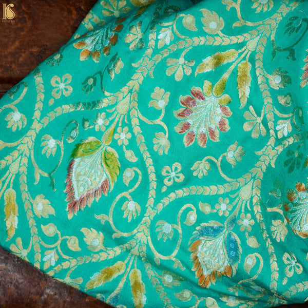 Green Pure Georgette Handloom Banarasi Fabric