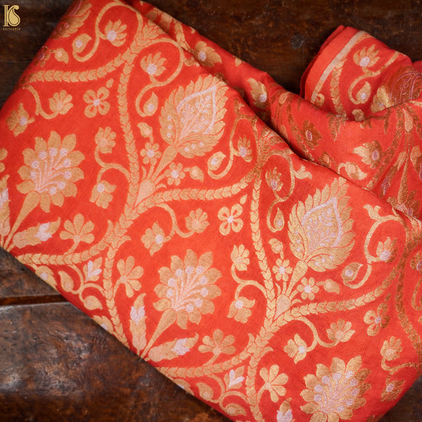 Orange Pure Georgette Handloom Banarasi Fabric