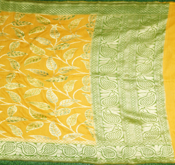 Mustard & Green Pure Moonga Silk Handloom Banarasi Hand Brush Saree - Khinkhwab