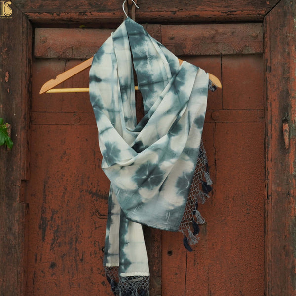 White & Grey Pure Cotton Tie Dye Stole - Khinkhwab
