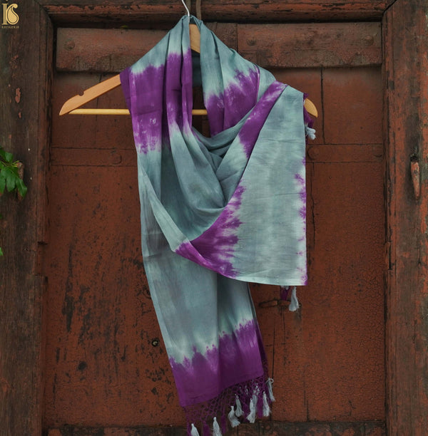 Purple & Grey Pure Cotton Tie Dye Stole - Khinkhwab