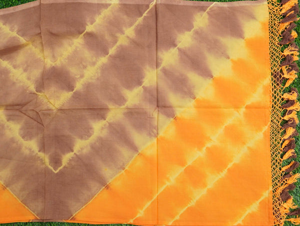 Yellow Pure Cotton Tie Dye Stole - Khinkhwab