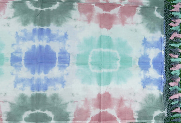White Pure Cotton Tie Dye Stole - Khinkhwab