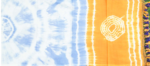 Blue & Orange Pure Cotton Tie Dye Stole - Khinkhwab